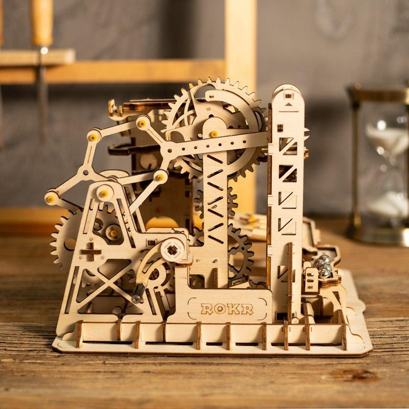 Wooden 3D Puzzle Tower Coaster Marble Run Model Kit