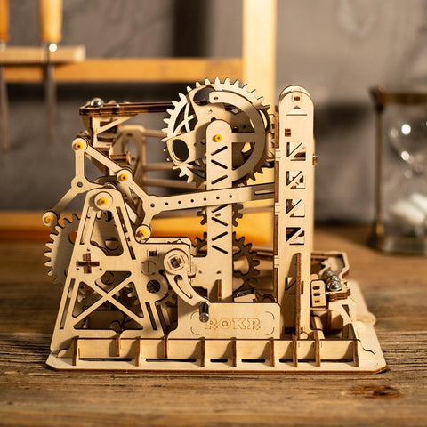 Wooden 3D Puzzle Lift Coaster Marble Run Model Kit