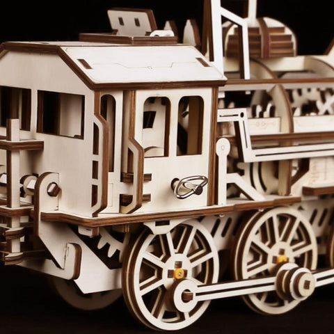 Wooden Mechanical Locomotive 3D Puzzle for Ages 14+