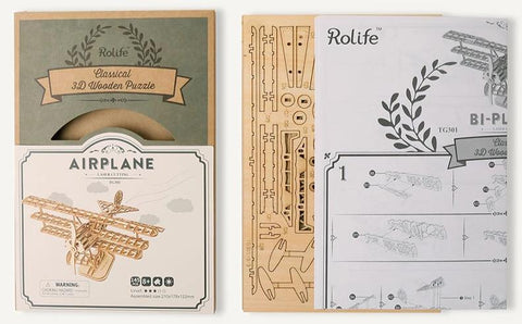 Bi-Plane 3D Wooden Puzzle Kit for Ages 8+