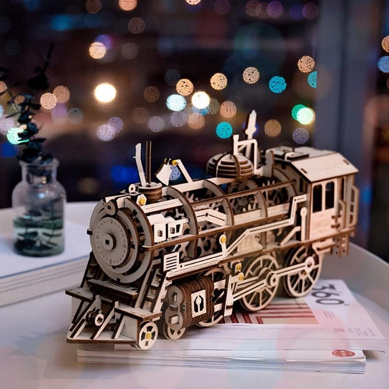 Wooden 3D Puzzle Mechanical Locomotive Model Kit