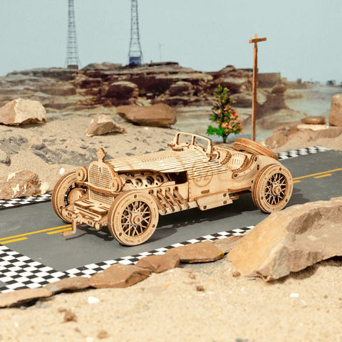 Wooden 3D Puzzle Vintage Grand Prix Car Model Kit
