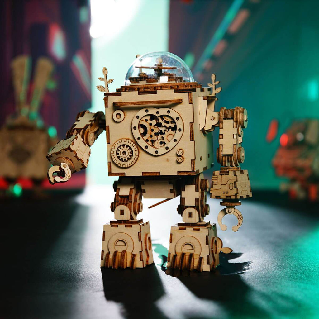 Wooden 3D Puzzle Music Playing Robot Model Kit