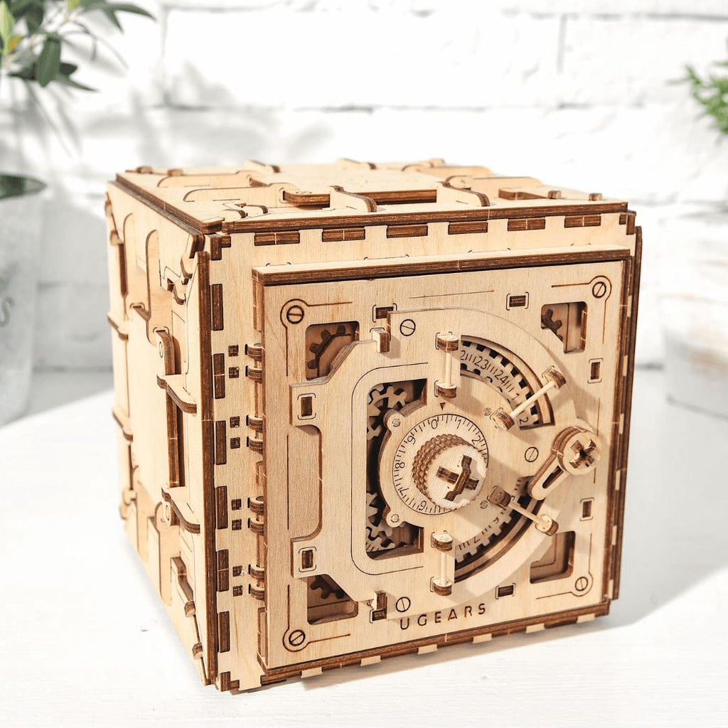 Wooden 3D Puzzle Safe Vault with combination lock Model Kit