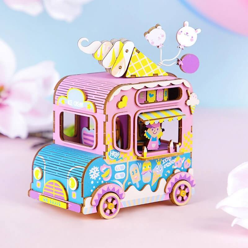 Wooden 3D Puzzle Ice-Cream Truck Model Kit