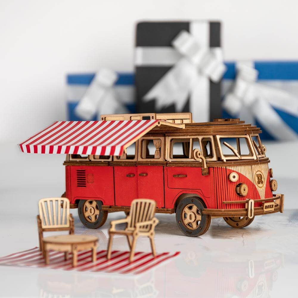 DIY Wooden 3D Puzzle - Kombi the Camper Van
