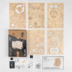 Wooden Owl Clock Model Kit