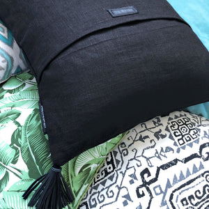 """OM"" Linen Pillow Cover, Blk"