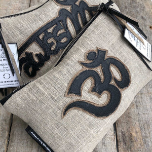 Leather Patch Linen Zip Pouch