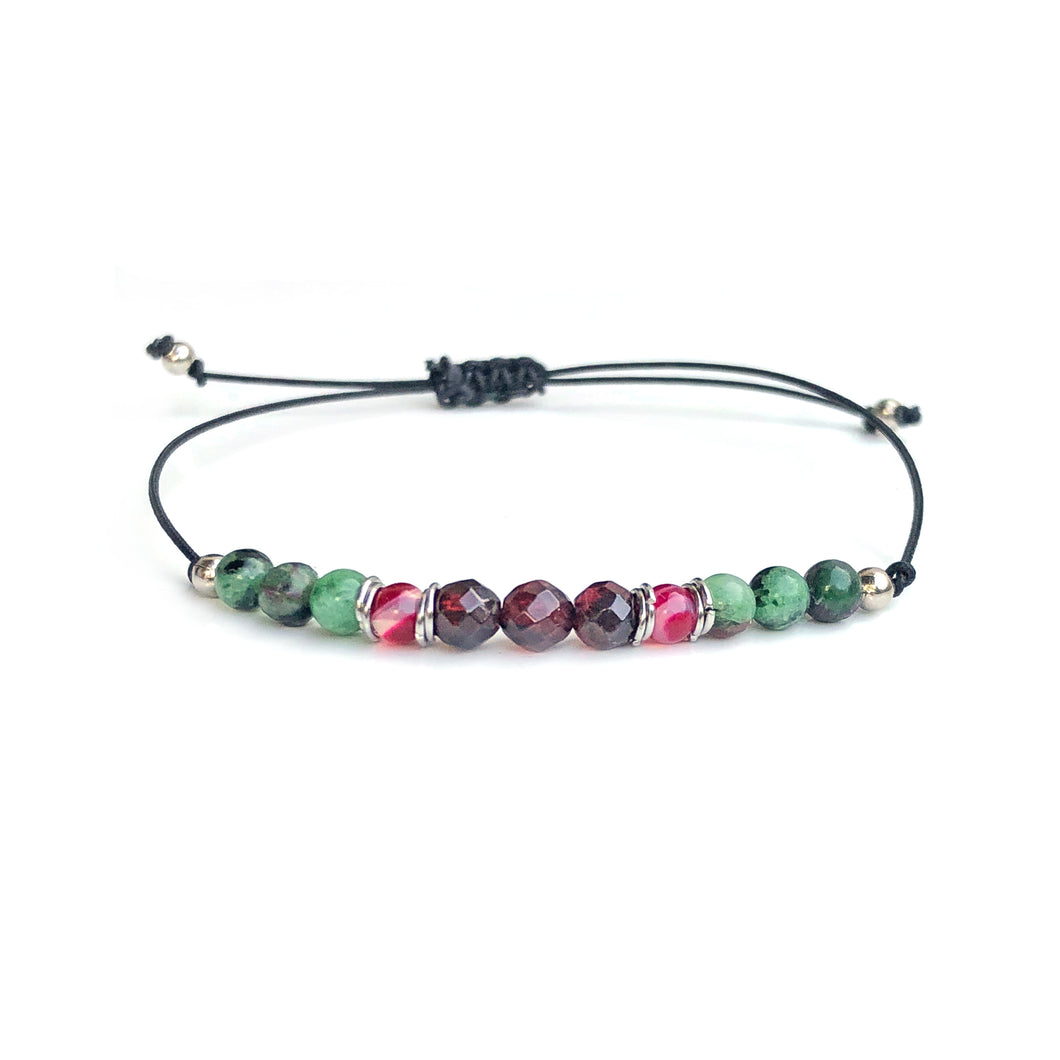 MANIFESTATION BRACELET, Garnet with Ruby Zoisite