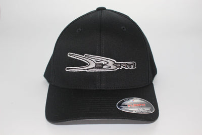 Black Flex Fit hat with gray DeBerti logo