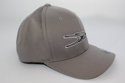 DeBerti Original Gray Logo, Gray Flex-Fit Curved brim hat.