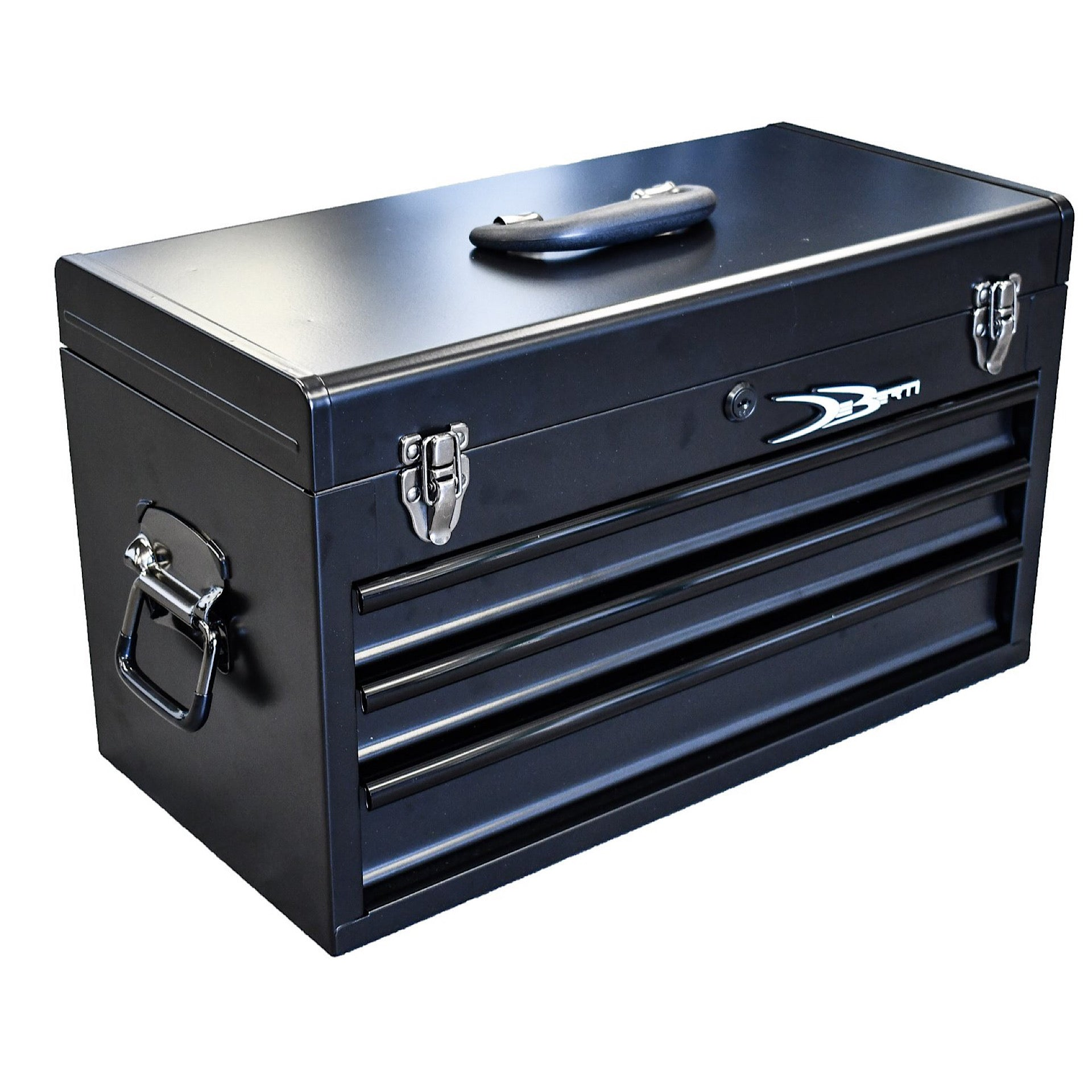 This tool box is blacked out, exterior color is matte black with gloss black accents.