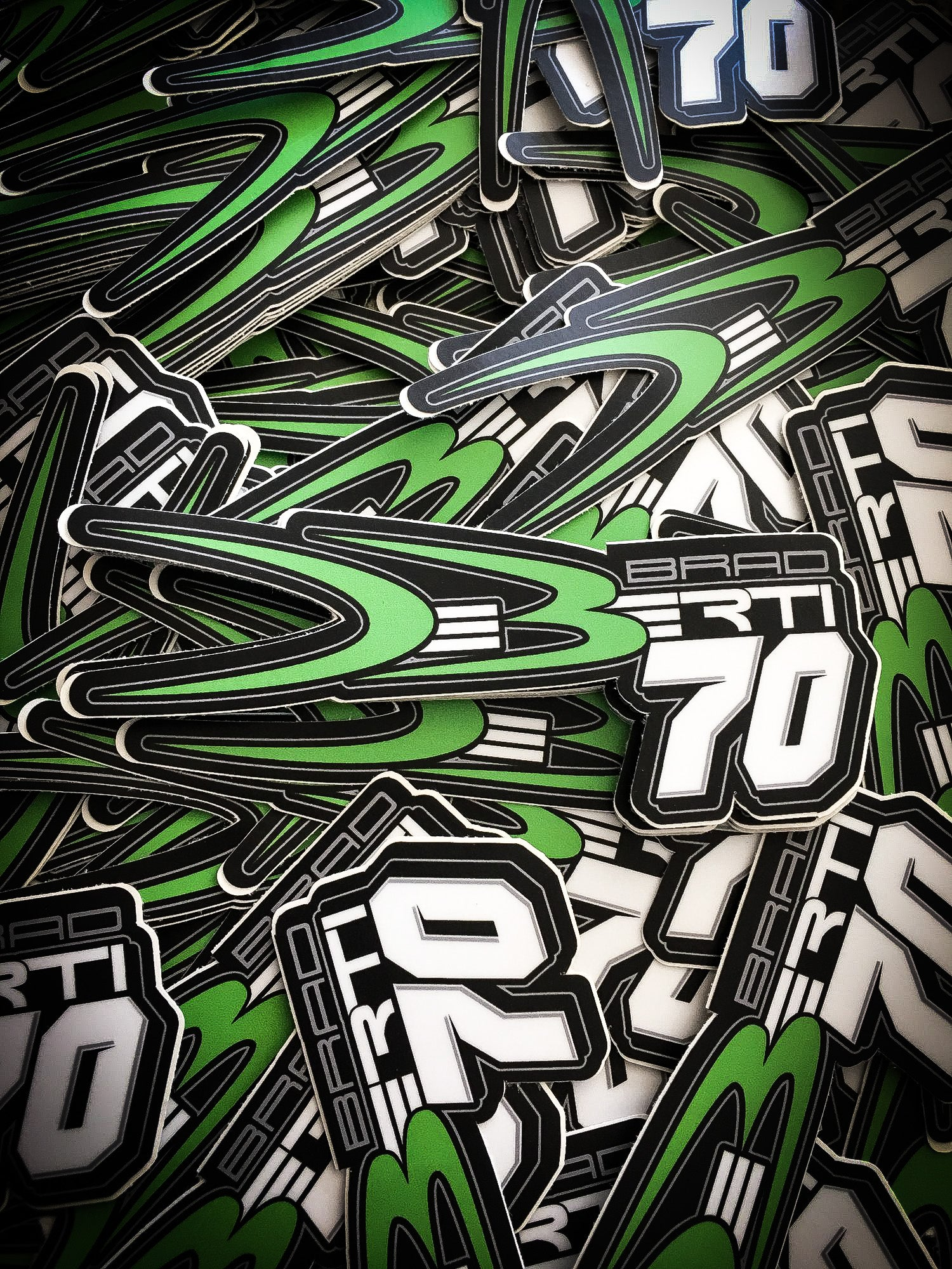 Slap these bad boys anywhere you want! Classic DeBerti green logo and Brad DeBerti's signature no. 70
