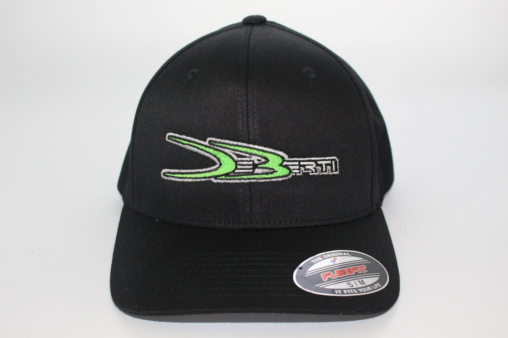 Black Flex Fit hat with green DeBerti logo