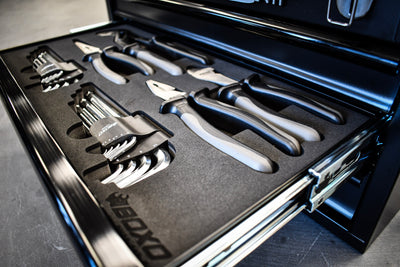 This tool box has 185 tools (Metric & SAE) that sit encased in machined high dense foam for organization. The foam blacked out with gray accents
