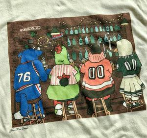 4 Mascots Walk Into a Bar Tee, Philadelphia Art, Natural Color