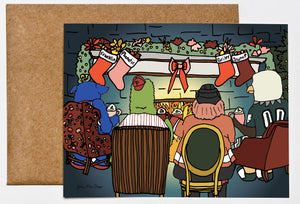 4 Mascots Roasting Chestnuts, Philadelphia Greeting Card, Christmas