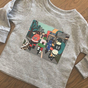 Philly Bike Gang Long Sleeved Toddler's Tee, Philadelphia Art, Gritty, Kelly Drive