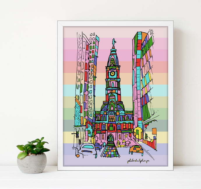 Philadelphia City Hall Love is Love Print 11x14