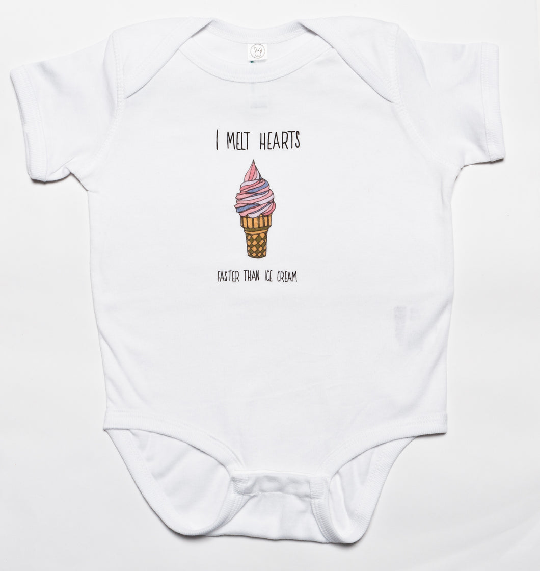 Pink I Melt Hearts Baby Baby Bodysuit, Beach Art