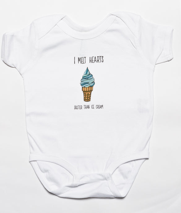 Blue I Melt Hearts Baby Baby Bodysuit, Beach Art