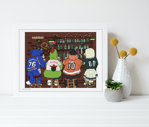 4 Mascots Walk into a Bar Print 8x10