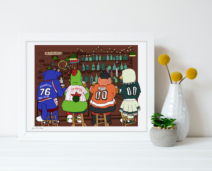 4 Mascots Walk into a Bar Print 11x14