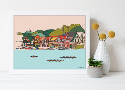 Boathouse Row Print 11x14, Philadelphia, Schuylkill River, Kelly Drive