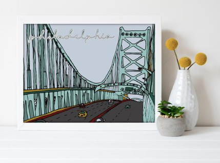 Ben Franklin Bridge Print 8x10, Philadelphia Art