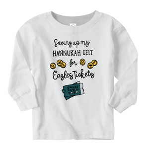 Saving Up My Hannukah Gelt Long Sleeved Toddler's Tee, Philadelphia Art, Gritty, Holiday
