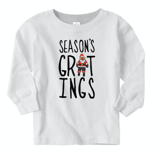 Season's GRITings Long Sleeved Toddler's Tee, Philadelphia Art, Gritty, Holiday