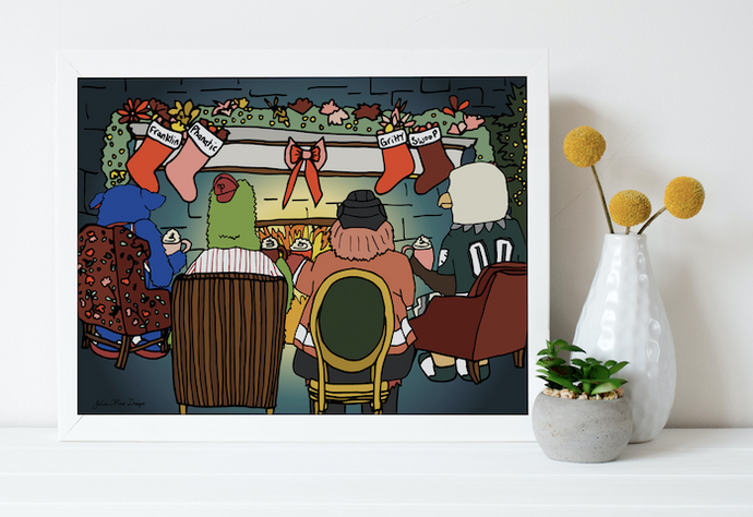 4 Mascots Roasting Chestnuts 8x10, Philadelphia Art, Christmas, Holiday