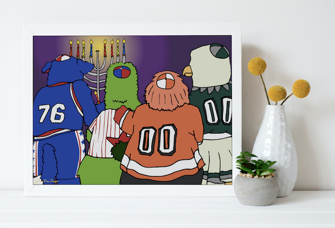 4 Mascots Light the Menorah 8x10, Philadelphia Art, Hannukah, Holiday