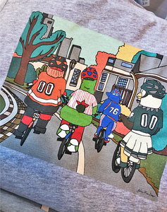 Philly Bike Gang Bar Tee, Philadelphia Art, ULTRA SOFT Edition, Heather Gray Color