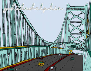 Ben Franklin Bridge Print 11x14, Philadelphia Art