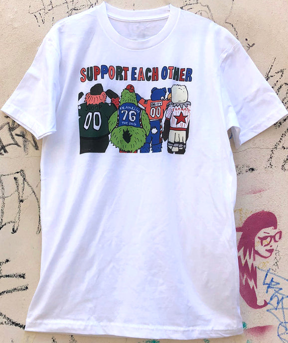Support Each Other Mascots Tee, Philadelphia Art, ULTRA SOFT Edition, White Tee