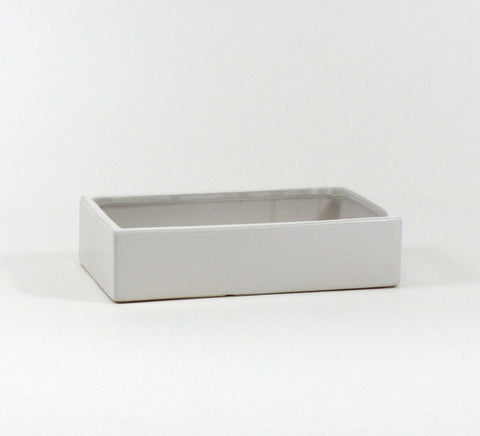 Wide White Rectangle Pot