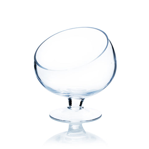 Clear Slant Cut Bowl on Stand