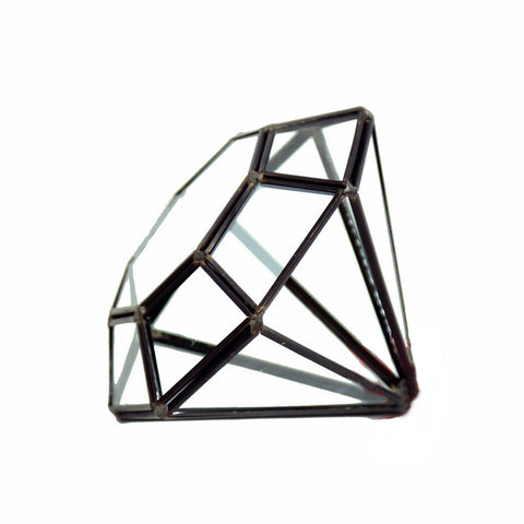 Geometric Glass Terrarium A Diamond Black Frame