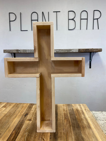 Wooden cross planter