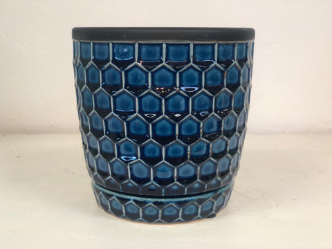 Blue Honeycomb Pot 8""