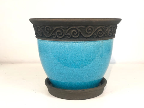 Teal Cadiz Pot 8""