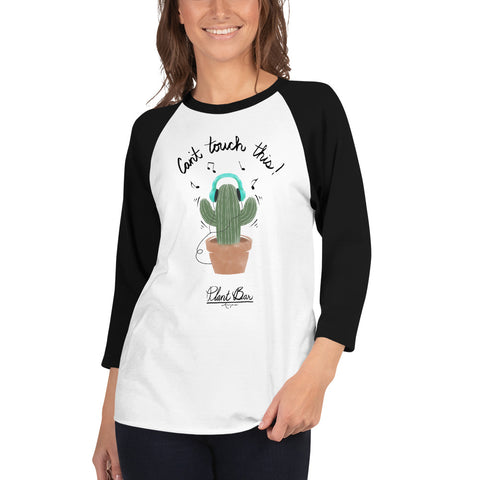 Dancing Cactus 3/4 Sleeve Raglan Tee w/ Tear Away Label