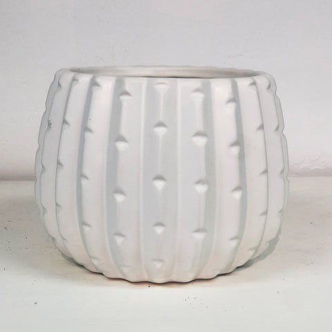 Unique Cactus White Ceramic Pot Large