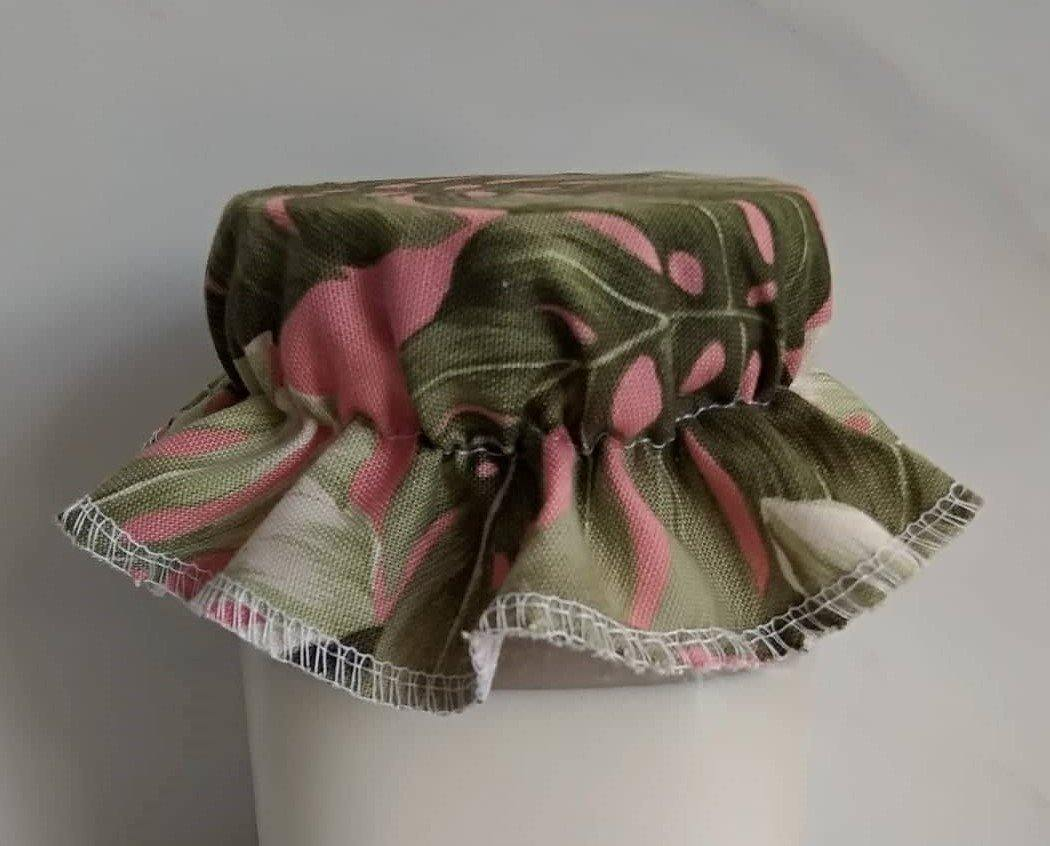 Elasticated Cotton Lid green/pink