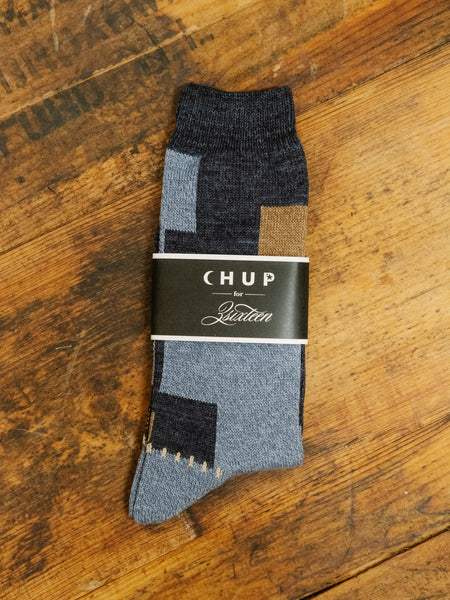 CHUP x 3Sixteen Indigo Patchwork Socks - Thirdmark Supply House