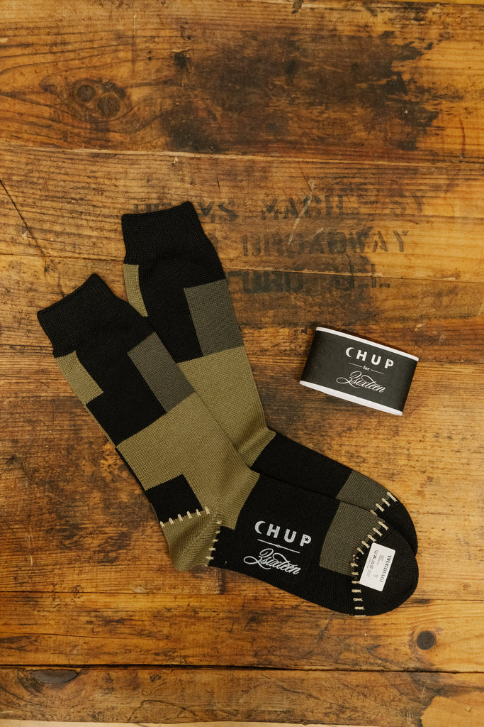 CHUP x 3Sixteen Olive Patchwork Socks - Thirdmark Supply House