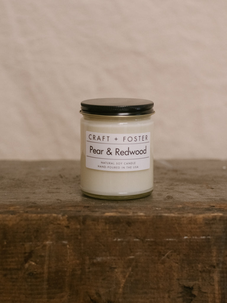 Pear & Redwood - Natural Soy Wax 8oz Candle - Thirdmark Supply House