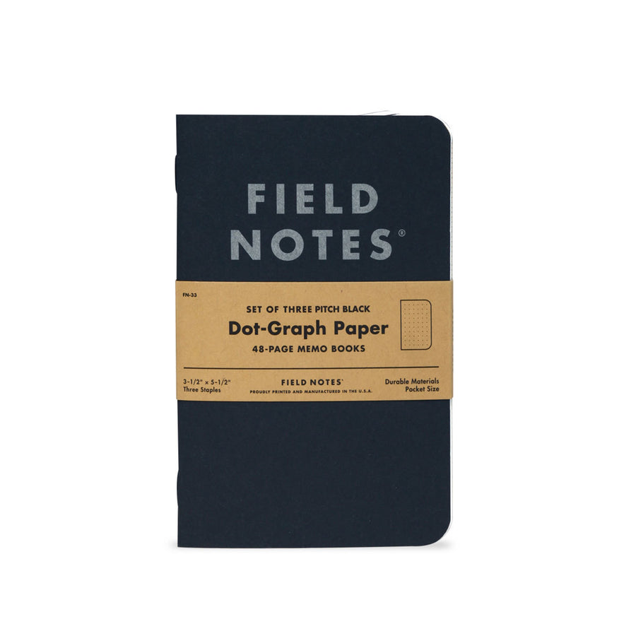 Field Notes Pitch Black Memo Book 3-Pack (Dot Graph) - Division and Co.